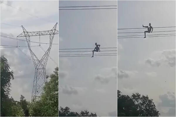 Viral video of a Man spotted playing on electricity high tension